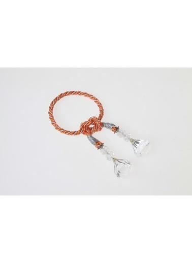 Kanca Ev Kristal Sallantılı Halat Peçetelik, Turuncu-Gümüş Oranj